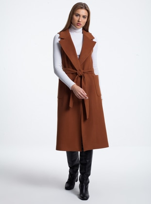 Tan - Fully Lined - Point Collar - Acrylic -  - Wool Blend - Vest