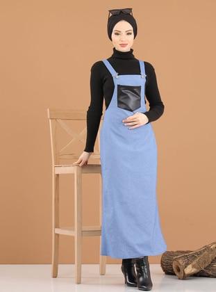 Blue - Sweatheart Neckline - Unlined -  - Dress