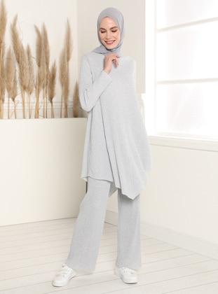 Elastic Waist Trousers - Gray
