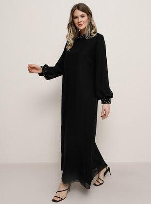 Black - Crew neck - Muslim Plus Size Evening Dress - Alia
