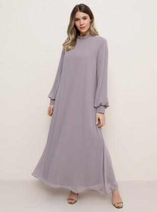 Lilac - Crew neck - Muslim Plus Size Evening Dress - Alia
