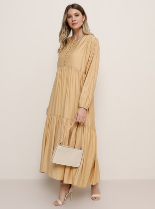Camel - Crew neck - Plus Size Dress