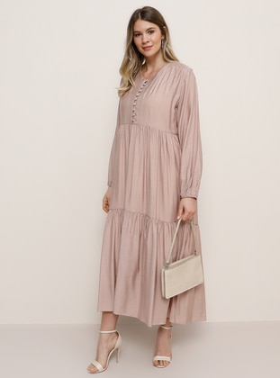 Dusty Rose - Crew neck - Plus Size Dress
