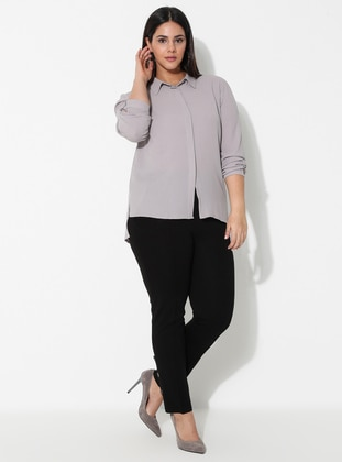 Black - Viscose - Plus Size Pants