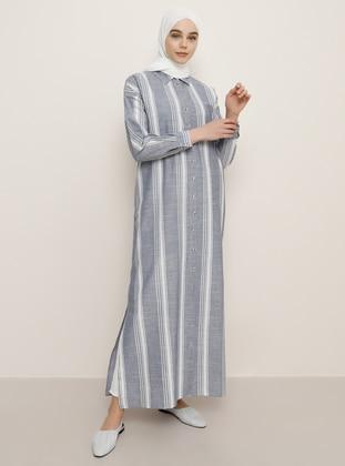 Navy Blue - Stripe - Point Collar - Unlined -  - Dress