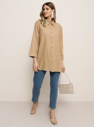 Camel - Point Collar - Plus Size Tunic