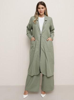 Sea-green - Unlined - Shawl Collar - Cotton - Plus Size Coat