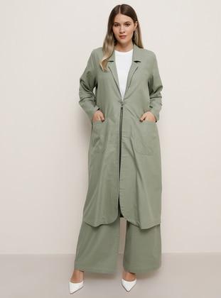 Sea-green - Unlined - Shawl Collar - Cotton - Plus Size Coat - Alia