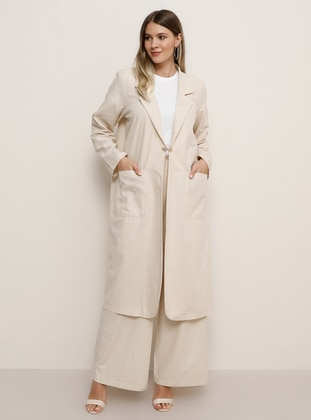 Stone - Unlined - Shawl Collar - Cotton - Plus Size Coat