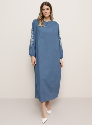 Indigo - Crew neck - Plus Size Dress - Alia