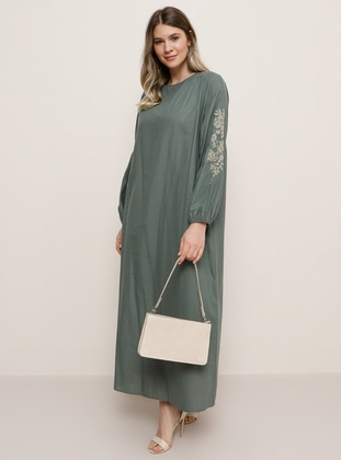 Petrol - Green - Crew neck -  - Plus Size Dress - Alia