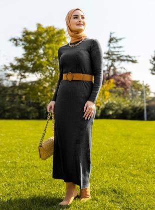 Black - Black - Black - Crew neck - Unlined - Cotton - Triko - Knit Dresses