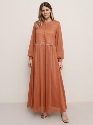 Tan - Crew neck - Muslim Plus Size Evening Dress - Alia