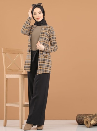 Mink - Plaid - Unlined - Crew neck -  - Jacket - Tofisa