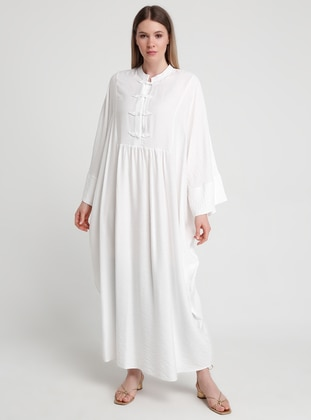 White - Ecru - Crew neck - Plus Size Abaya