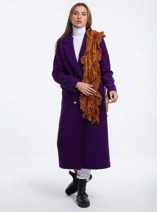 Purple - Fully Lined - Point Collar - Acrylic -  - Wool Blend - Coat