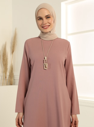 Neckless Detailed Tunic&Trousers Set - Dusty Rose