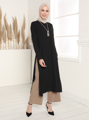 Neckless Detailed Tunic&Trousers Set - Black