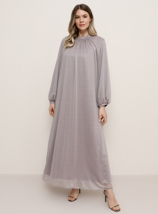 Lilac - Fully Lined - Crew neck - Muslim Plus Size Evening Dress - Alia