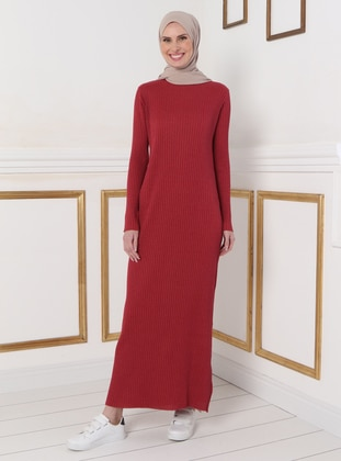 Maroon - Unlined - Crew neck - Knit Dresses