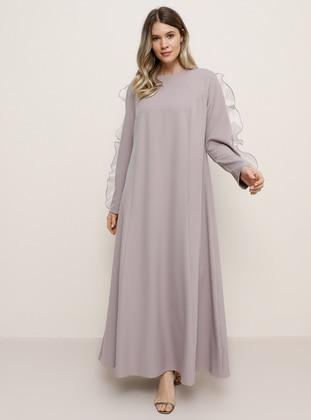 Lilac - Crew neck - Muslim Plus Size Evening Dress