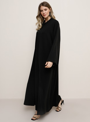 Black - Crew neck - Plus Size Evening Suit - Alia