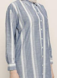 Navy Blue - Point Collar -  - Tunic