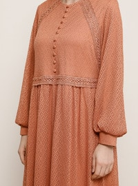 Tan - Crew neck - Muslim Plus Size Evening Dress