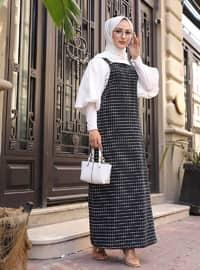 Siyah - Kareli - Kare yaka - Astarsız kumaş - - Elbise