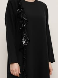 Black - Unlined - Crew neck - Muslim Plus Size Evening Dress