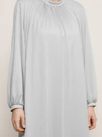 Gray - Fully Lined - Crew neck - Muslim Plus Size Evening Dress