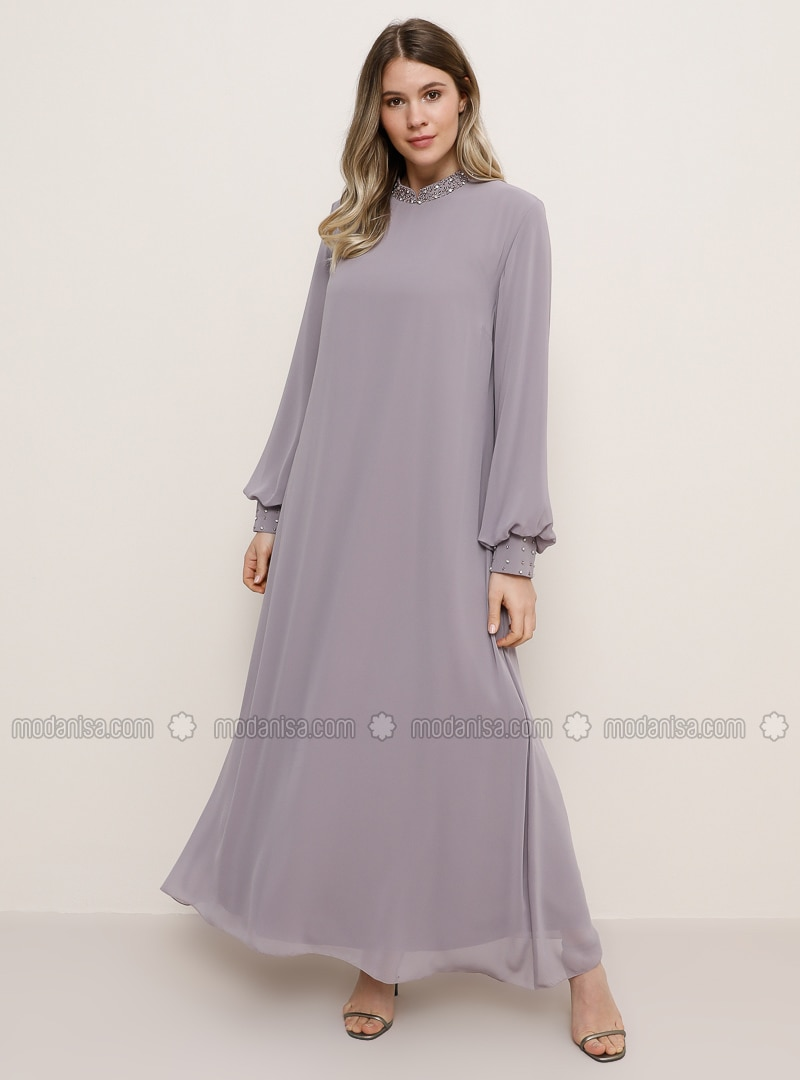 Lilac - Crew neck - Muslim Plus Size Evening Dress