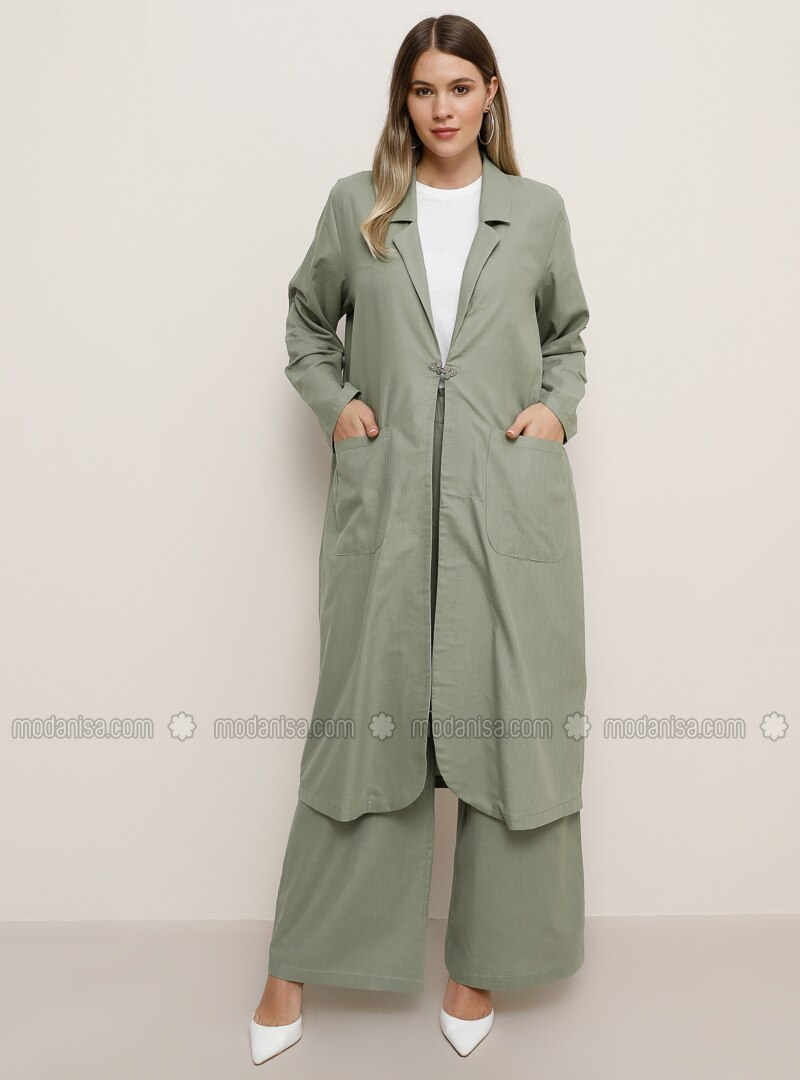 Sea-green - Unlined - Shawl Collar - Cotton - Plus Size Coat