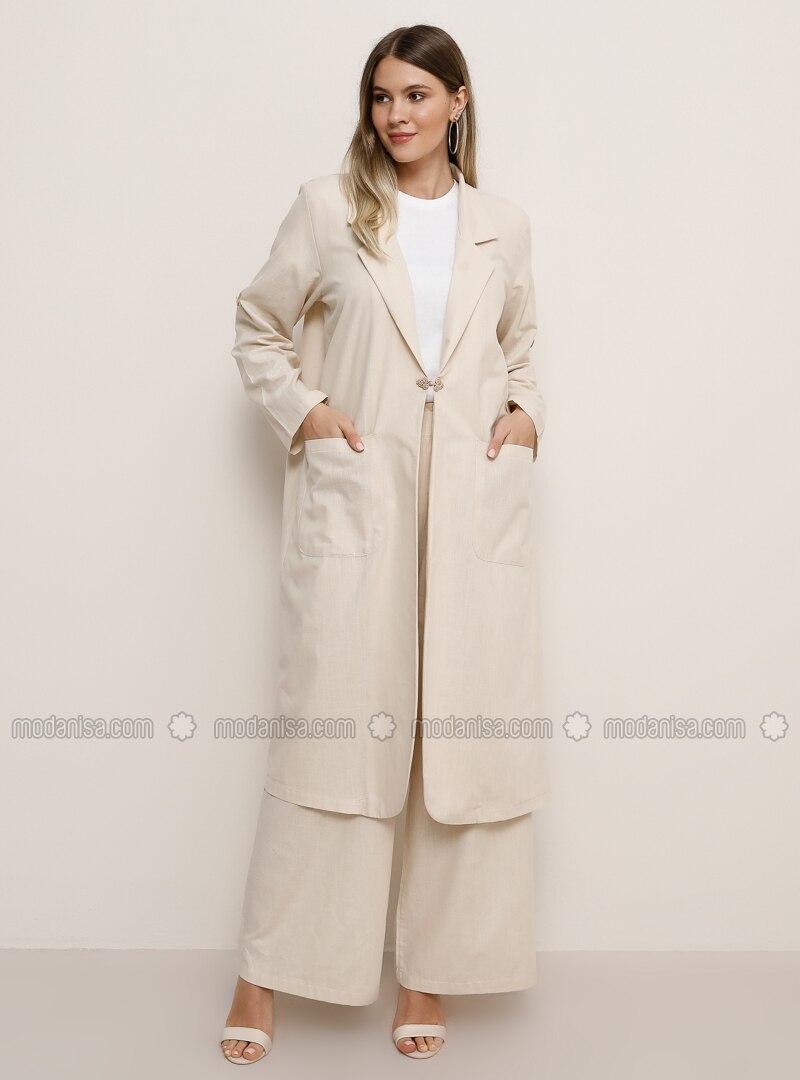 Stone - Unlined - Shawl Collar - Cotton - Plus Size Coat