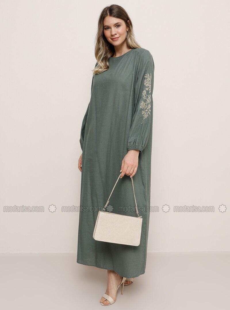Petrol - Green - Crew neck -  - Plus Size Dress