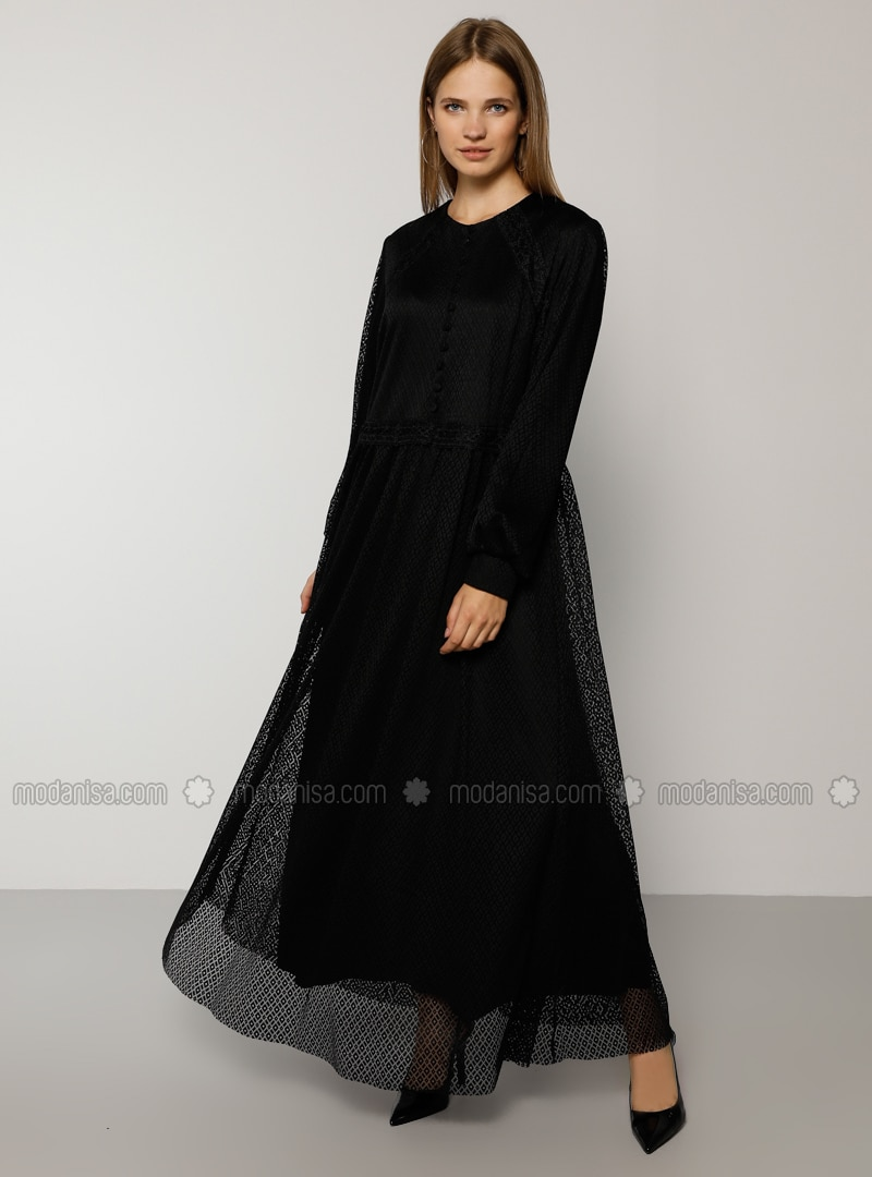Black - Crew neck - Muslim Plus Size Evening Dress