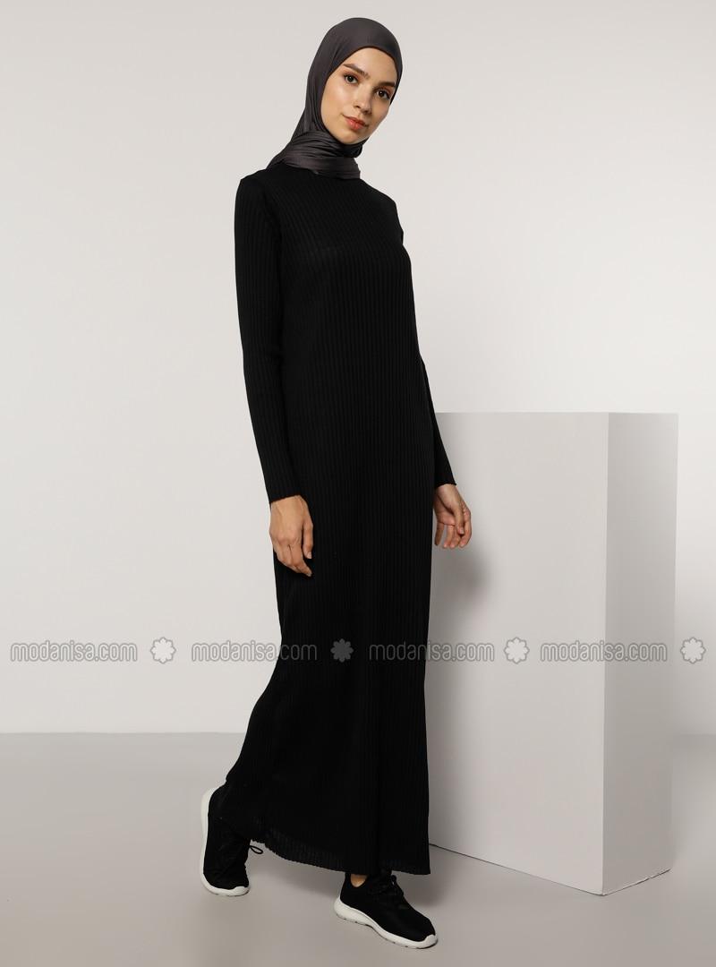 Black - Black - Crew neck - Unlined - Cotton - - Modest Dress