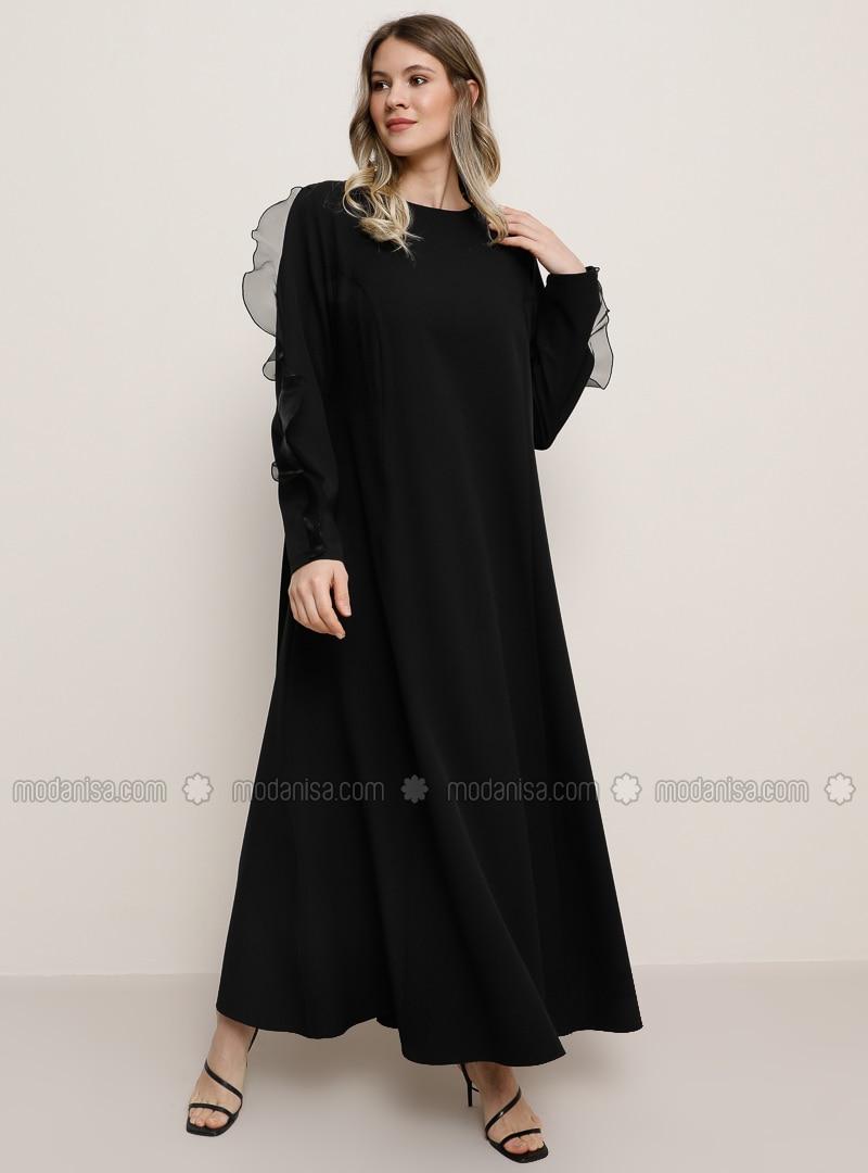 Black - Crew neck - Muslim Plus Size Evening Dress