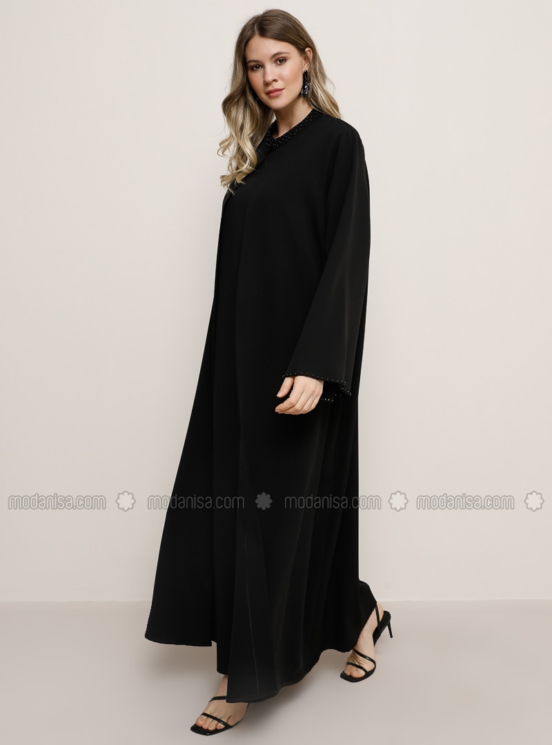 Black - Crew neck - Plus Size Evening Suit