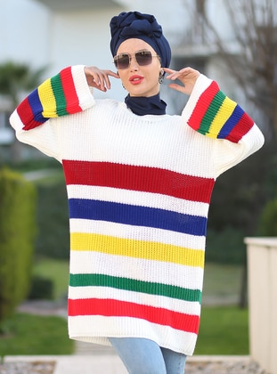 White - Stripe - Crew neck - Unlined - Knit Tunics