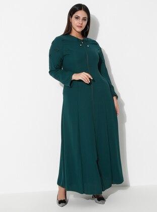 Green - Crew neck - Unlined - Plus Size Abaya