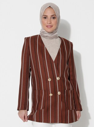 Brown - Stripe - Fully Lined - V neck Collar - Jacket