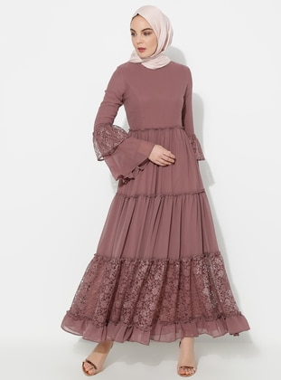 Dusty Rose - Half Lined - Crew neck - Muslim Evening Dress - BÜRÜN