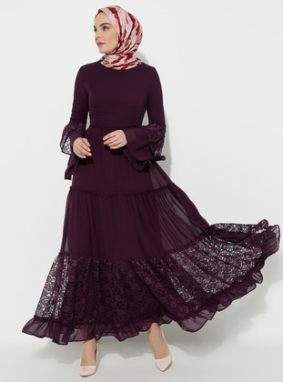 Purple - Half Lined - Crew neck - Muslim Evening Dress