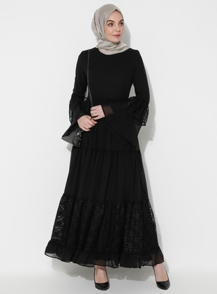 Black - Half Lined - Crew neck - Muslim Evening Dress