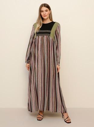 Khaki - Ethnic - Unlined - Crew neck - Viscose - Plus Size Dress