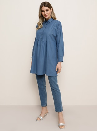 Indigo - Point Collar - Plus Size Tunic - Alia