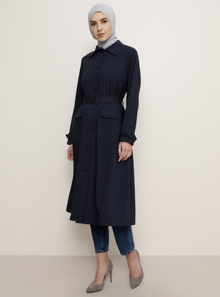 Navy Blue - Point Collar - Trench Coat