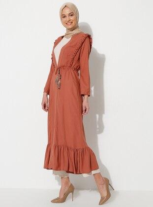 Terra Cotta - Unlined - Shawl Collar - Muslim Evening Dress