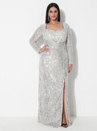 Silver tone - Fully Lined - Sweatheart Neckline - Muslim Evening Dress